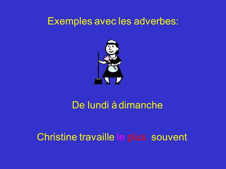 Christine travaille le plus souvent Exemples avec les adverbes: