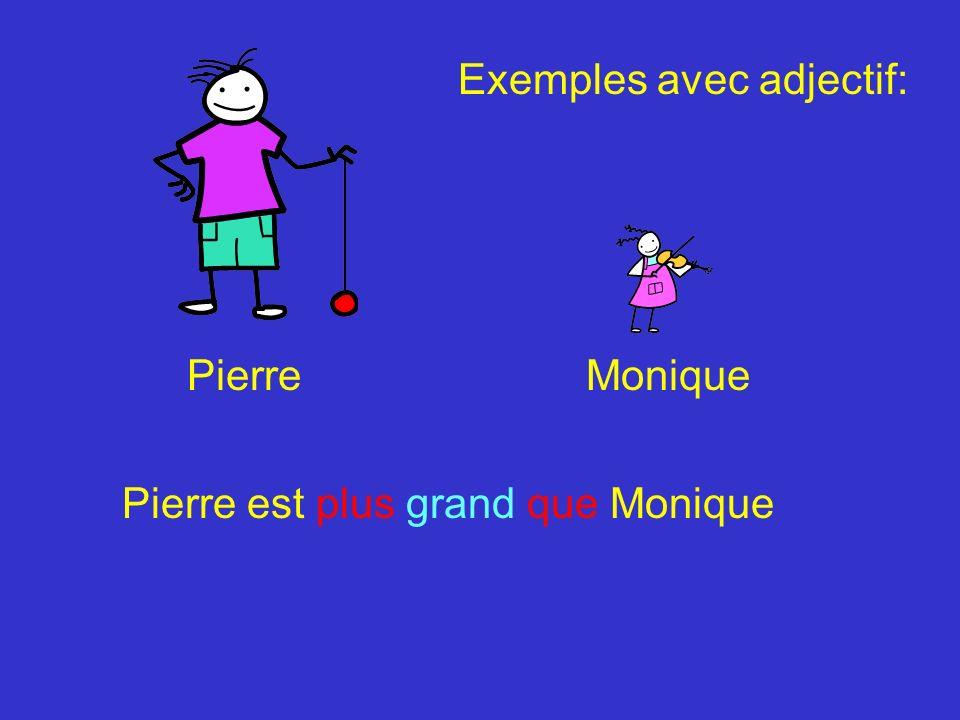 PierreMonique Pierre est moins grand que Monique Exemples avec adjectif: