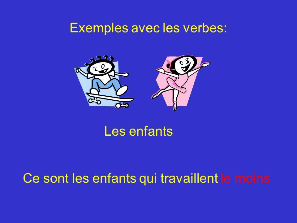 Exemples avec les verbes: Les enfants Ce sont les enfants qui travaillent le moins