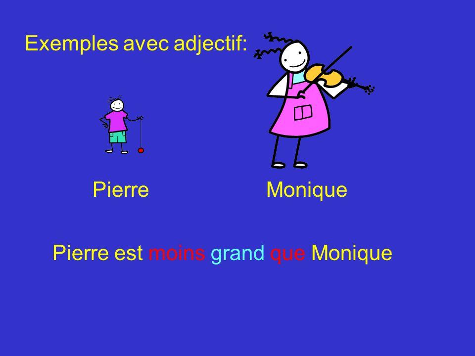 Pierre et Monique L école Pierre et Moniqe sont les plus grands de lécole Exemples avec adjectif: