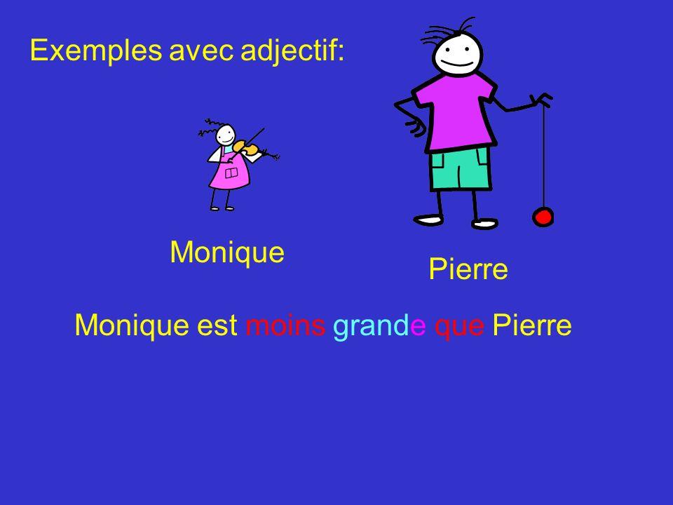 Pierre Monique Monique est moins grande que Pierre Exemples avec adjectif: