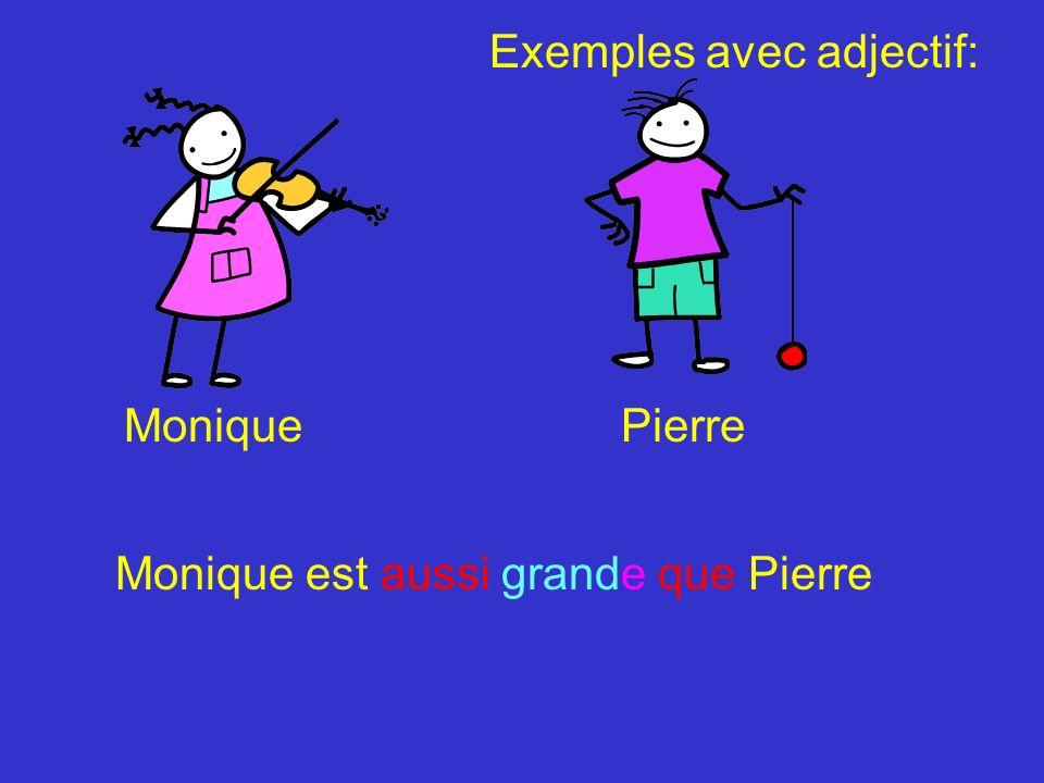 Adjectif: Subject +verb+ plus,moins,aussi+ adjectif+ que+ comparaison Pierre est plus grand que Monique Pierre est moins grand que Monique Pierre est aussi grand que Monique En sommaire: