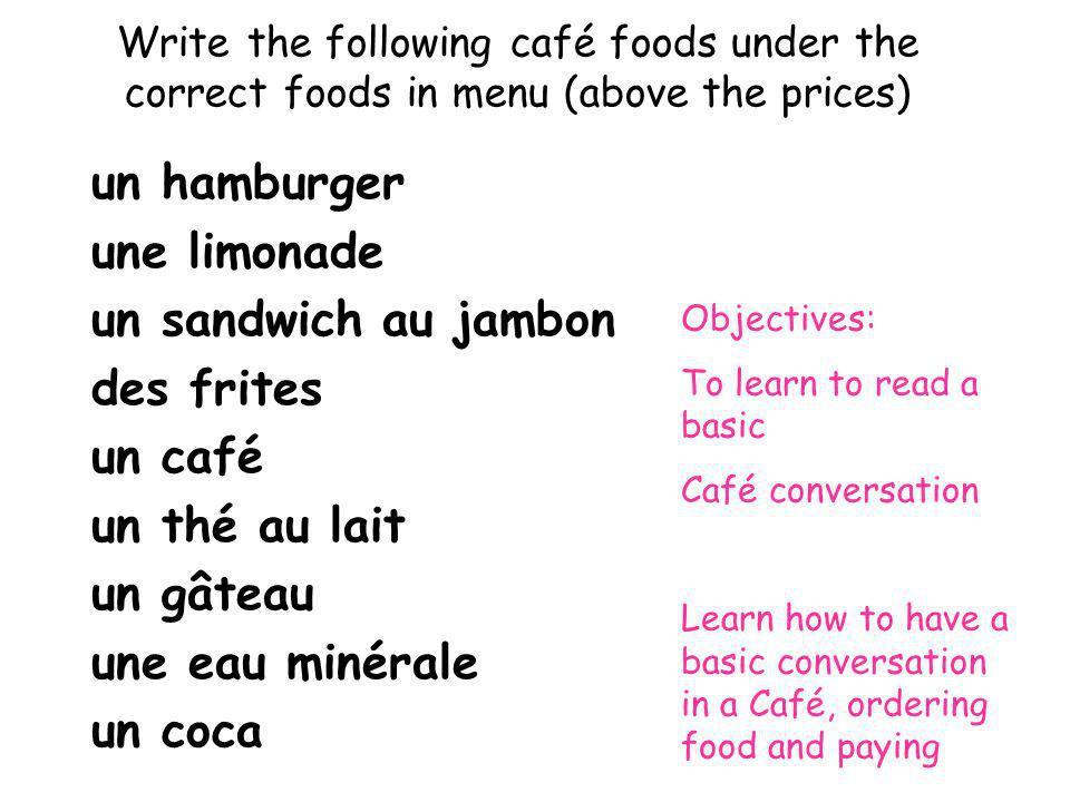 Write the following café foods under the correct foods in menu (above the prices) un hamburger une limonade un sandwich au jambon des frites un café u
