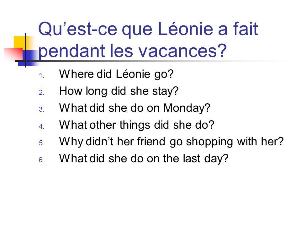 Quest-ce que Léonie a fait pendant les vacances.1.