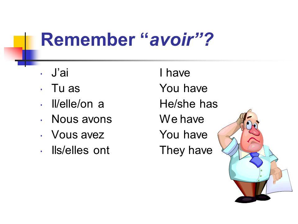 Remember avoir.