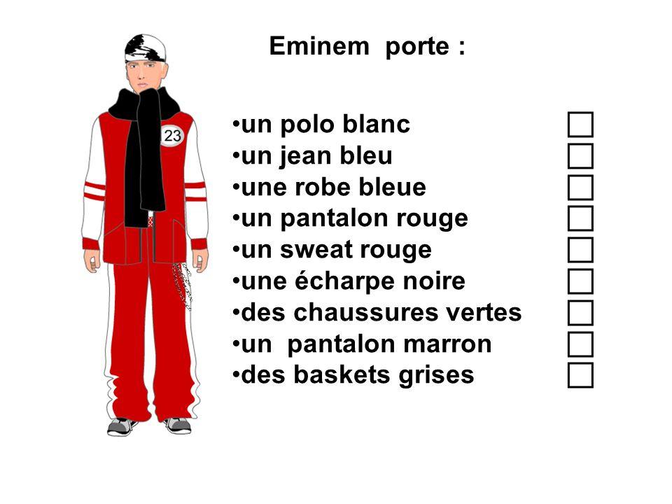 Eminem porte : un polo blanc un jean bleu une robe bleue un pantalon rouge un sweat rouge une écharpe noire des chaussures vertes un pantalon marron d