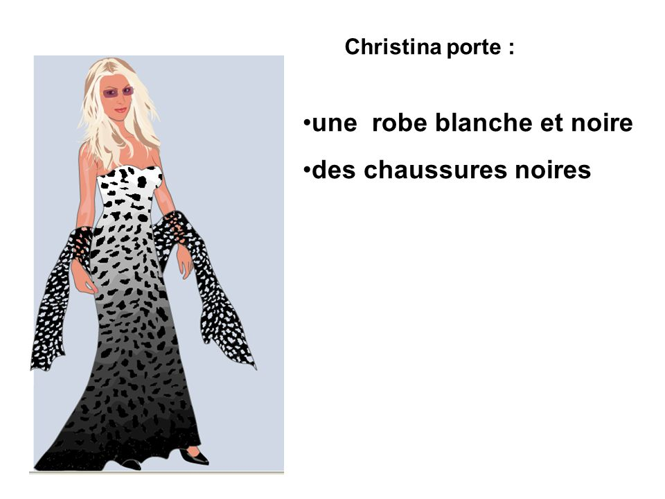 Christina porte : une robe blanche et noire des chaussures noires