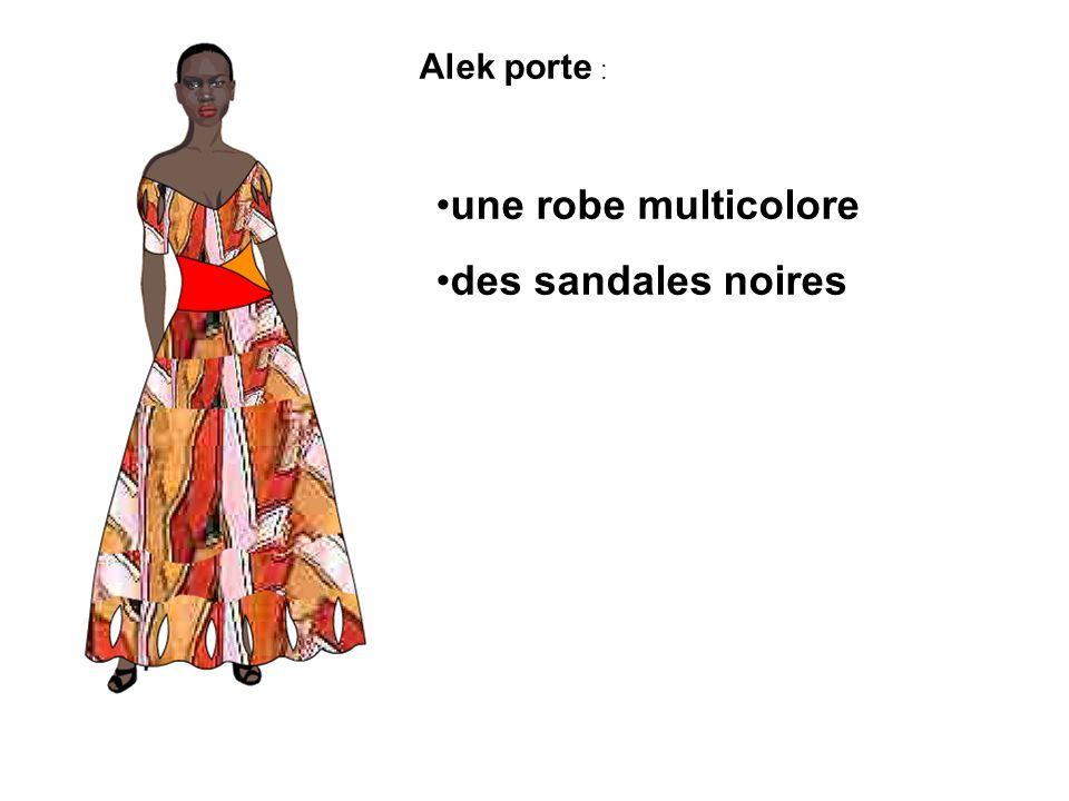 Penelope porte : une veste verte un pantalon blanc des chaussures blanches une veste rouge un pantalon rouge des chaussures dorées