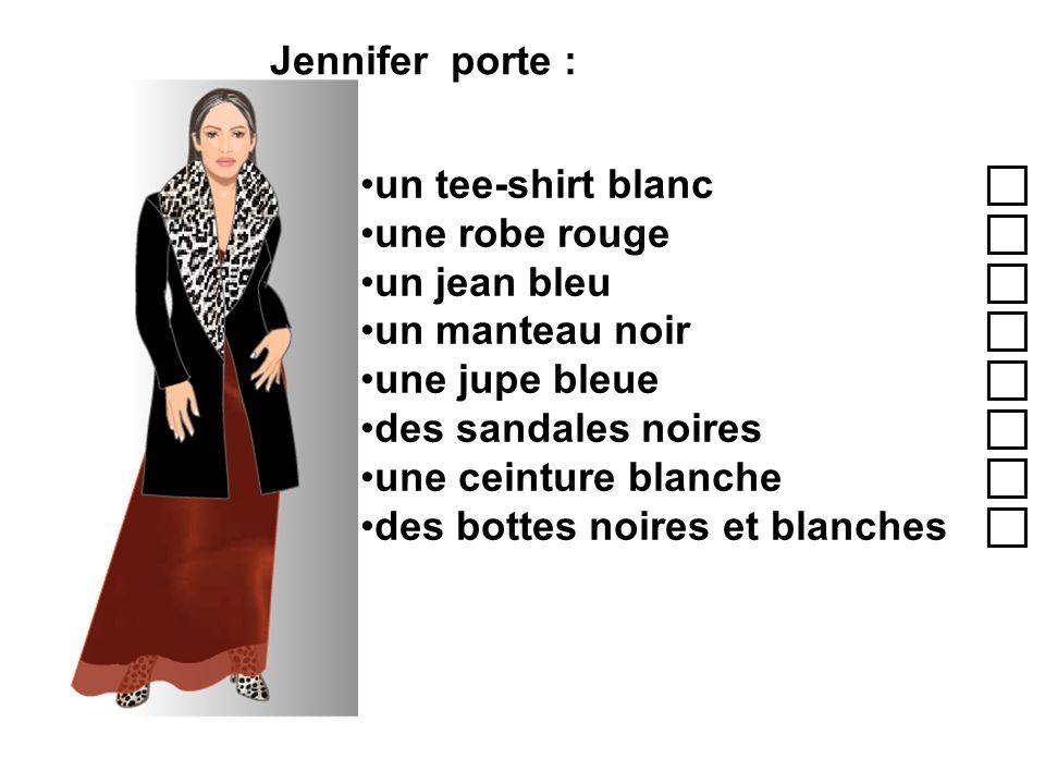 Jennifer porte : un tee-shirt blanc une robe rouge un jean bleu un manteau noir une jupe bleue des sandales noires une ceinture blanche des bottes noi