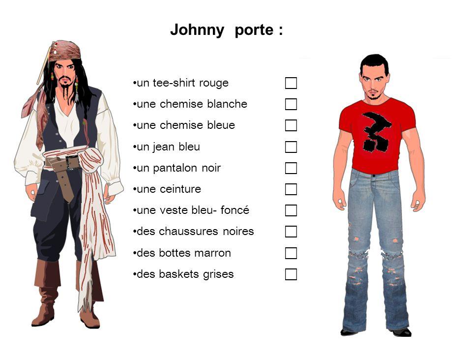 Johnny porte : un tee-shirt rouge une chemise blanche une chemise bleue un jean bleu un pantalon noir une ceinture une veste bleu- foncé des chaussure