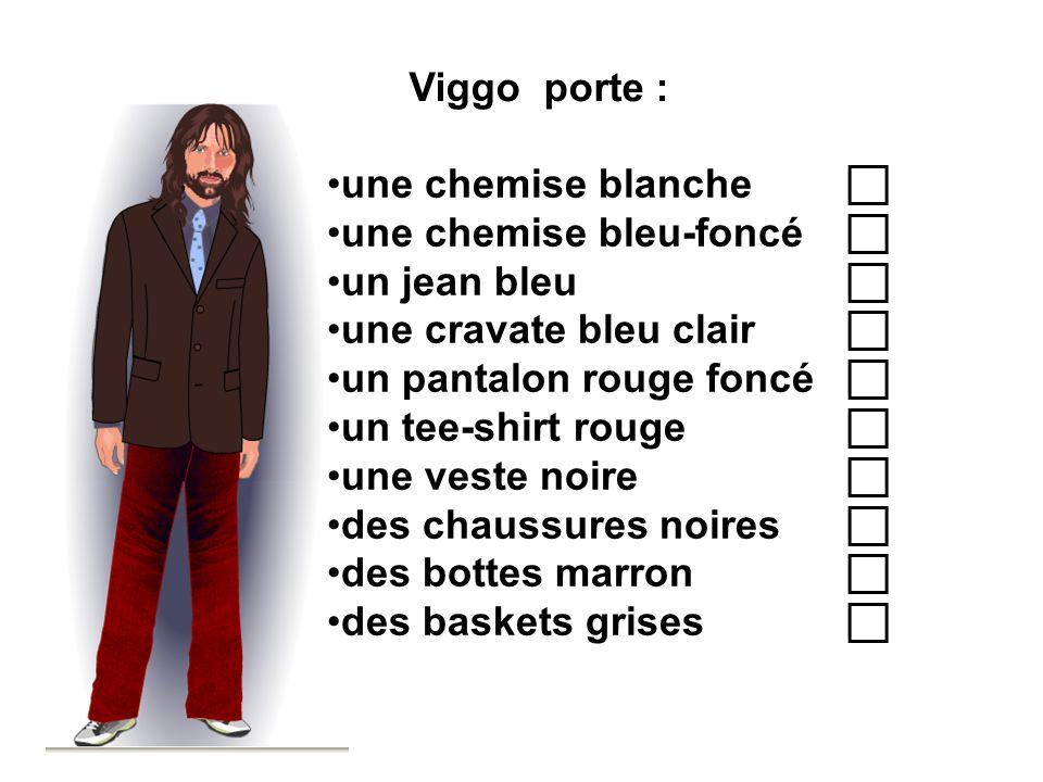 Viggo porte : une chemise blanche une chemise bleu-foncé un jean bleu une cravate bleu clair un pantalon rouge foncé un tee-shirt rouge une veste noir