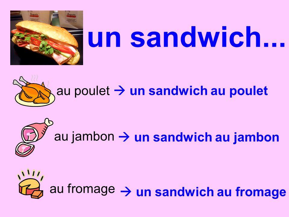 un sandwich... au poulet au jambon au fromage un sandwich au jambon un sandwich au poulet un sandwich au fromage