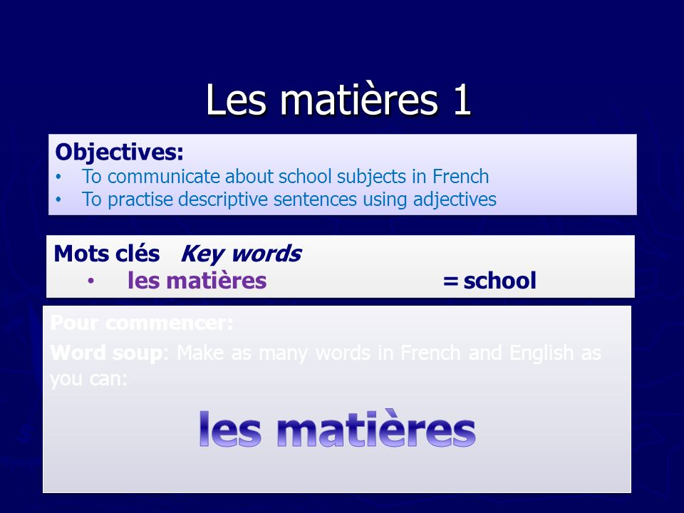 Les matières 1 Objectives: To communicate about school subjects in French To practise descriptive sentences using adjectives Objectives: To communicat