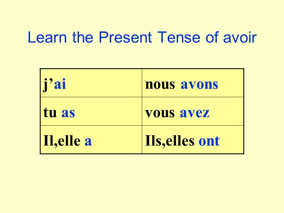 Learn the Present Tense of avoir jainous avons tu asvous avez Il,elle aIls,elles ont