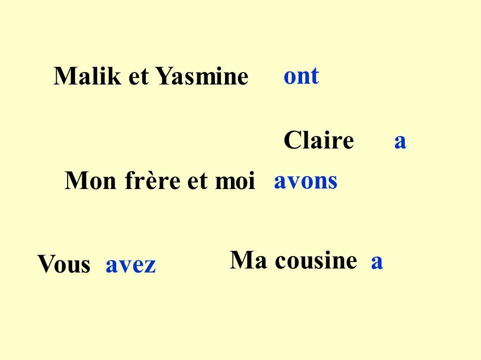 Malik et Yasmine ont Clairea Mon frère et moi avons Vousavez Ma cousine a