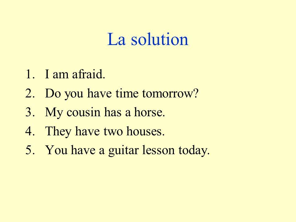Traduis! – translate! 1.Jai peur. 2.Est-ce que vous avez du temps demain? 3.Ma cousine a un cheval. 4.Ils ont deux maisons. 5.Tu as une leçon de guita