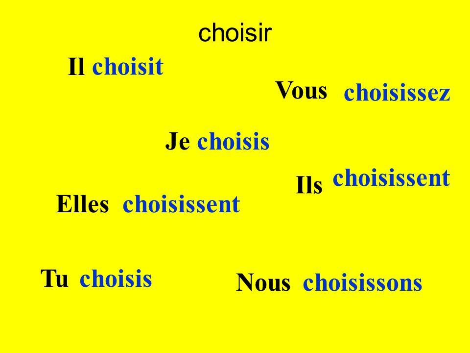 Il choisit Nous choisissons Je choisis Elles choisissent Vous choisissez Tu choisis Ils choisissent choisir