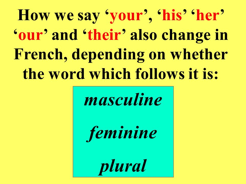 How we say your, his her our and their also change in French, depending on whether the word which follows it is: masculine feminine plural