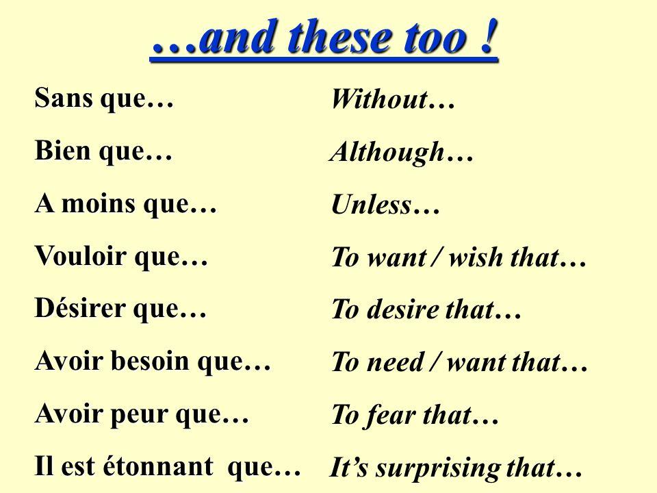 Il faut que… Il est nécessaire nécessaire que… Il vaut mieux que Il suffit que… Il est possible que… Pour que… Afin que… Avant que… One has to (one must)… It is necessary that… Its better that… It is sufficient that… It is possible that… So that… In order that…(formal) Before… Use the Subjunctive after these phrases.