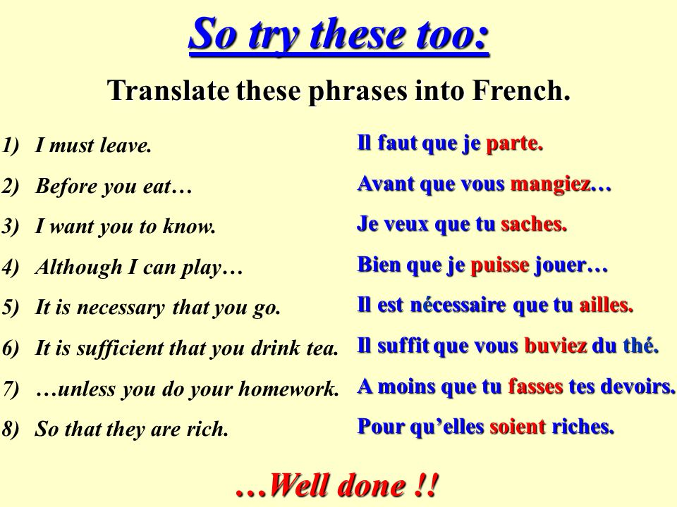 Now try these simple exercises: Change the verb in brackets to its correct form. 1)Bien que je (savoir)… 2)Il vaut mieux que tu (aller). 3)Jai besoin