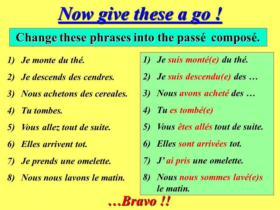 …And finally… All REFLEXIVE VERBS also use être as their AUXILIARY verb in the perfect tense. se laver – je me suis lavé (I washed myself) se lever –