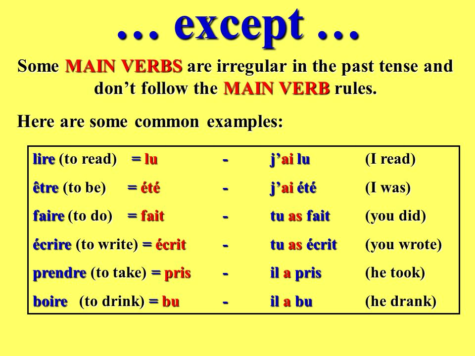 … except … Some MAIN VERBS are irregular in the past tense and dont follow the MAIN VERB rules.