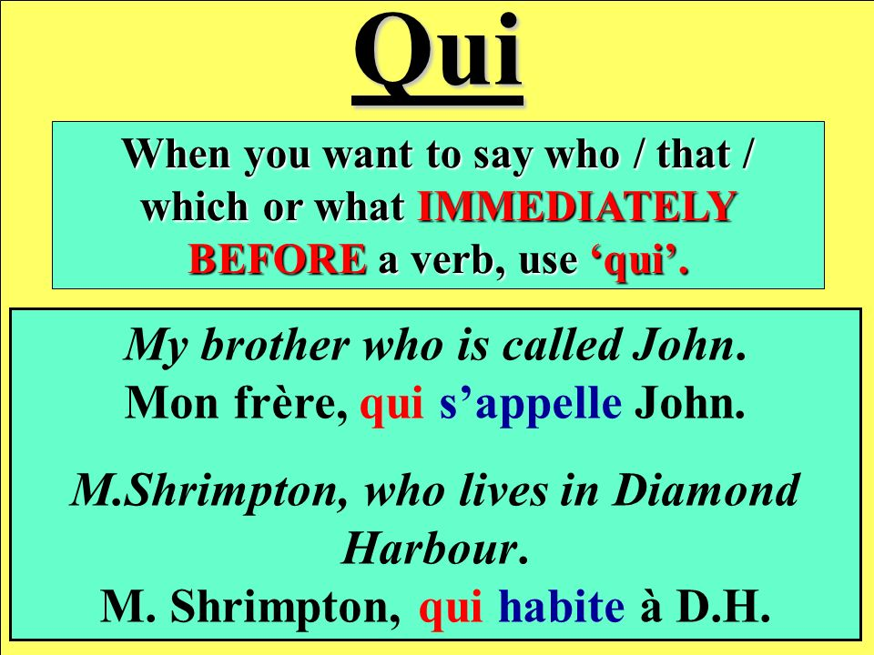 Qui When you want to say who / that / which or what IMMEDIATELY BEFORE a verb, use qui.