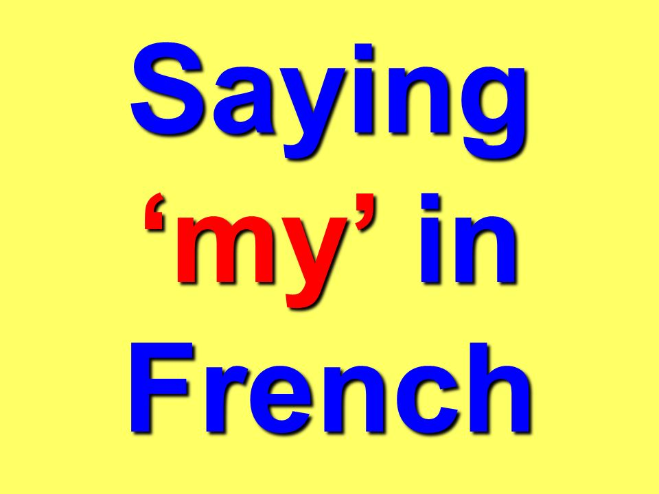 How we say your, his and her also change in French, depending on whether the word which follows it is: masculine feminine plural