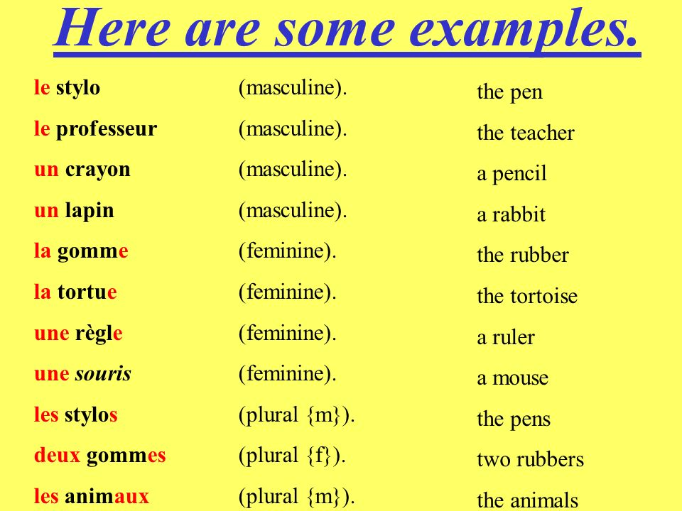What does that mean .M o s t n o u n s, o r t h i n g s i n F r e n c h, a r e m a s c u l i n e.