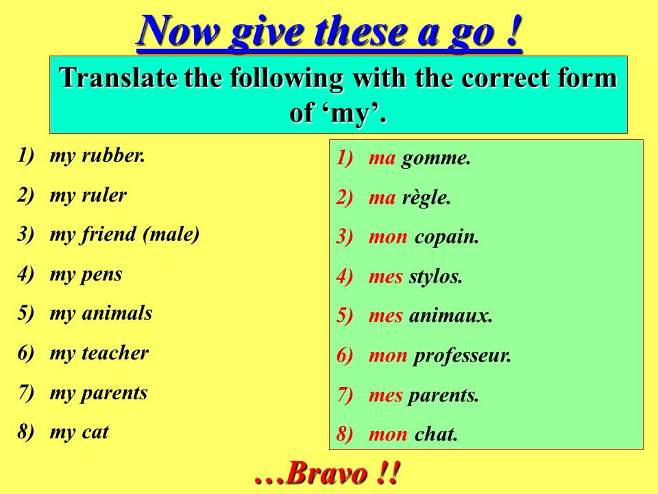 Now give these a go .Translate the following with the correct form of my.