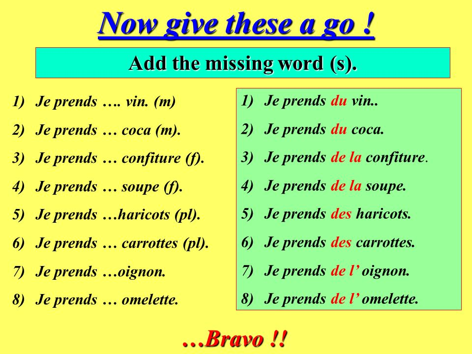 So try these too . Translate these phrases into French, using je voudrais.