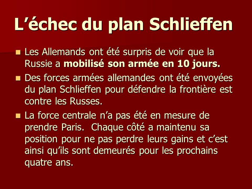 Léchec du plan Schlieffen Léchec du plan Schlieffen Les Allemands ont été surpris de voir que la Russie a mobilisé son armée en 10 jours. Les Allemand