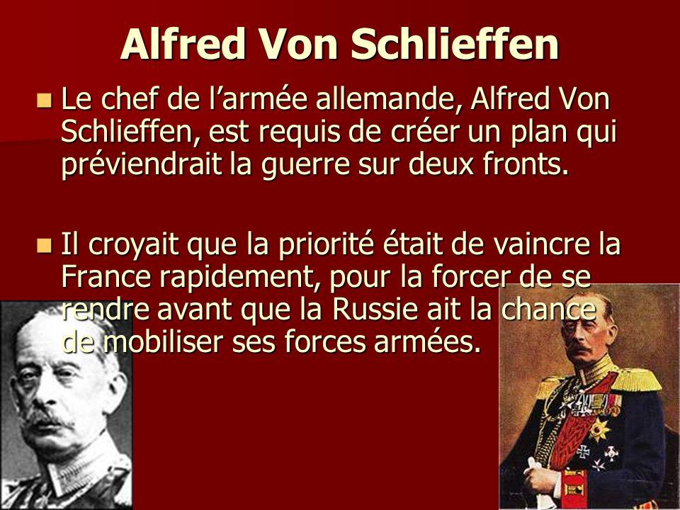 Alfred Von Schlieffen Le chef de larmée allemande, Alfred Von Schlieffen, est requis de créer un plan qui préviendrait la guerre sur deux fronts. Le c