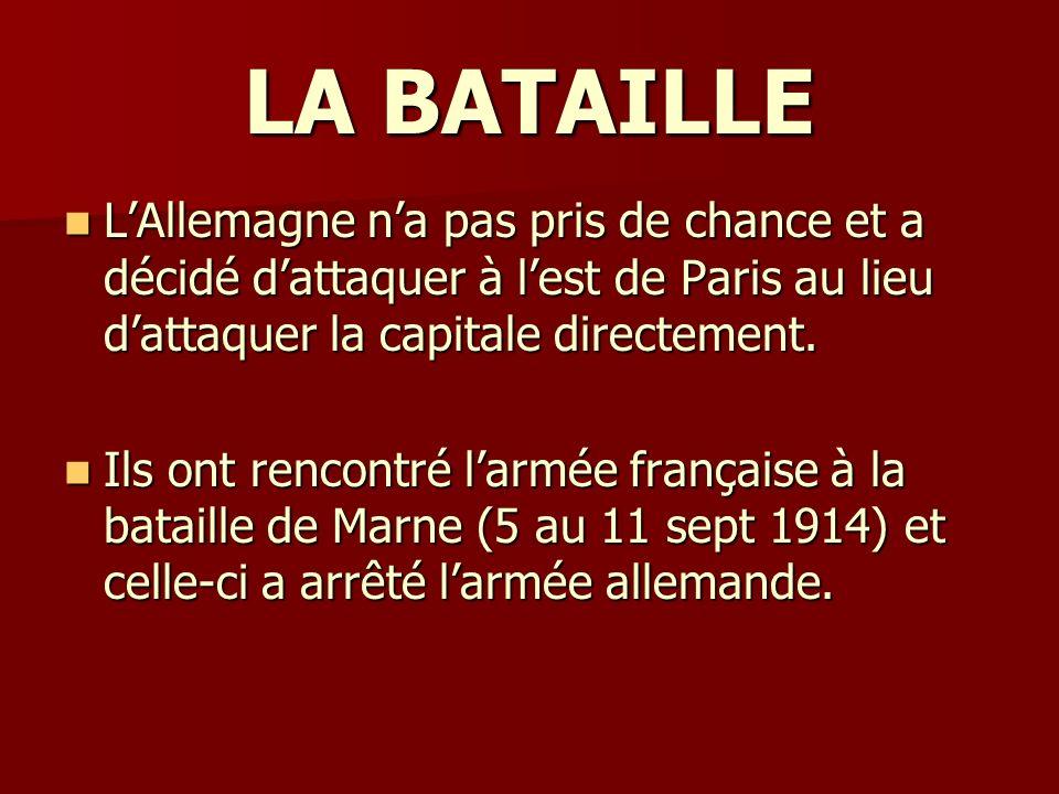 LA BATAILLE LAllemagne na pas pris de chance et a décidé dattaquer à lest de Paris au lieu dattaquer la capitale directement. LAllemagne na pas pris d