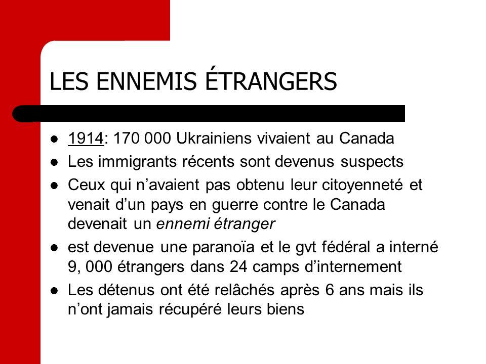 LES ENNEMIS ÉTRANGERS 1914: 170 000 Ukrainiens vivaient au Canada Les immigrants récents sont devenus suspects Ceux qui navaient pas obtenu leur citoy