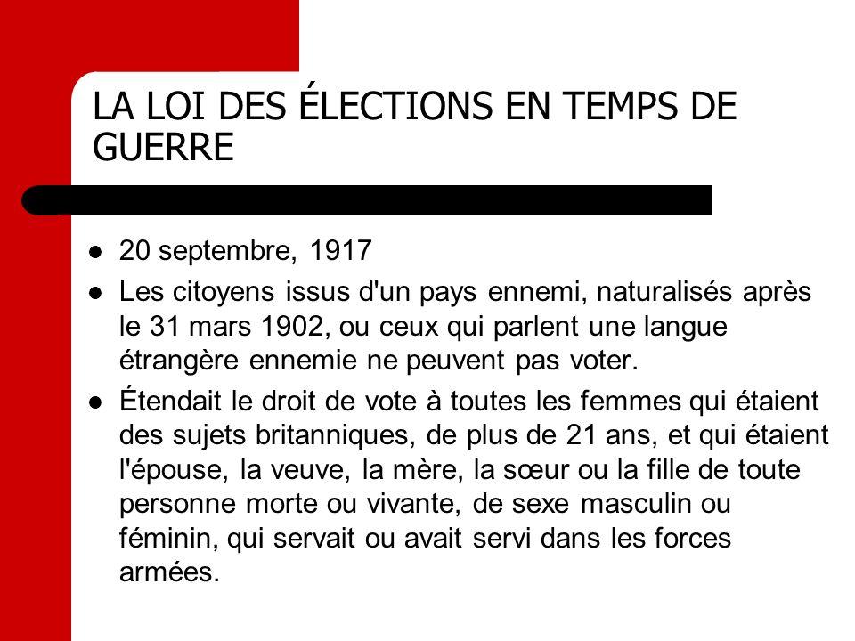 LA LOI DES ÉLECTIONS EN TEMPS DE GUERRE 20 septembre, 1917 Les citoyens issus d'un pays ennemi, naturalisés après le 31 mars 1902, ou ceux qui parlent
