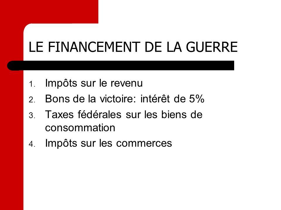 LE FINANCEMENT DE LA GUERRE 1. Impôts sur le revenu 2. Bons de la victoire: intérêt de 5% 3. Taxes fédérales sur les biens de consommation 4. Impôts s