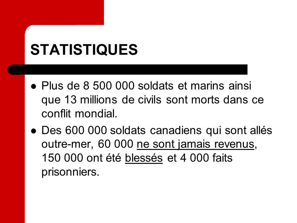 STATISTIQUES Plus de 8 500 000 soldats et marins ainsi que 13 millions de civils sont morts dans ce conflit mondial. Des 600 000 soldats canadiens qui