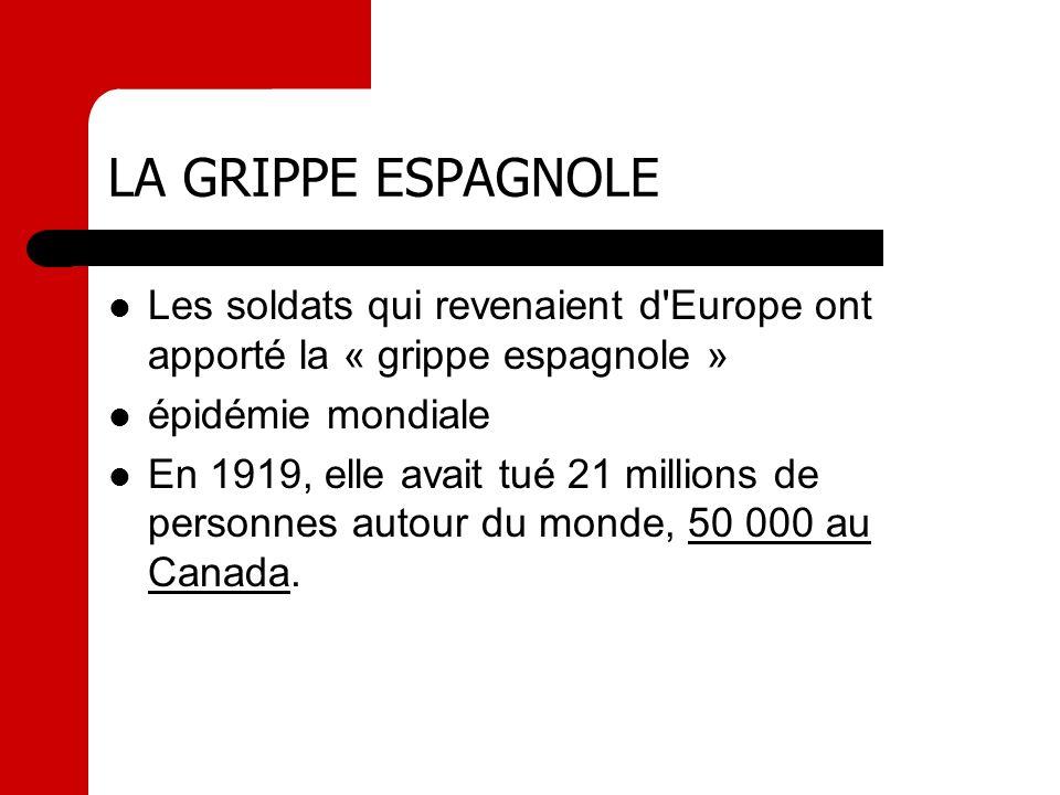 LA GRIPPE ESPAGNOLE Les soldats qui revenaient d'Europe ont apporté la « grippe espagnole » épidémie mondiale En 1919, elle avait tué 21 millions de p