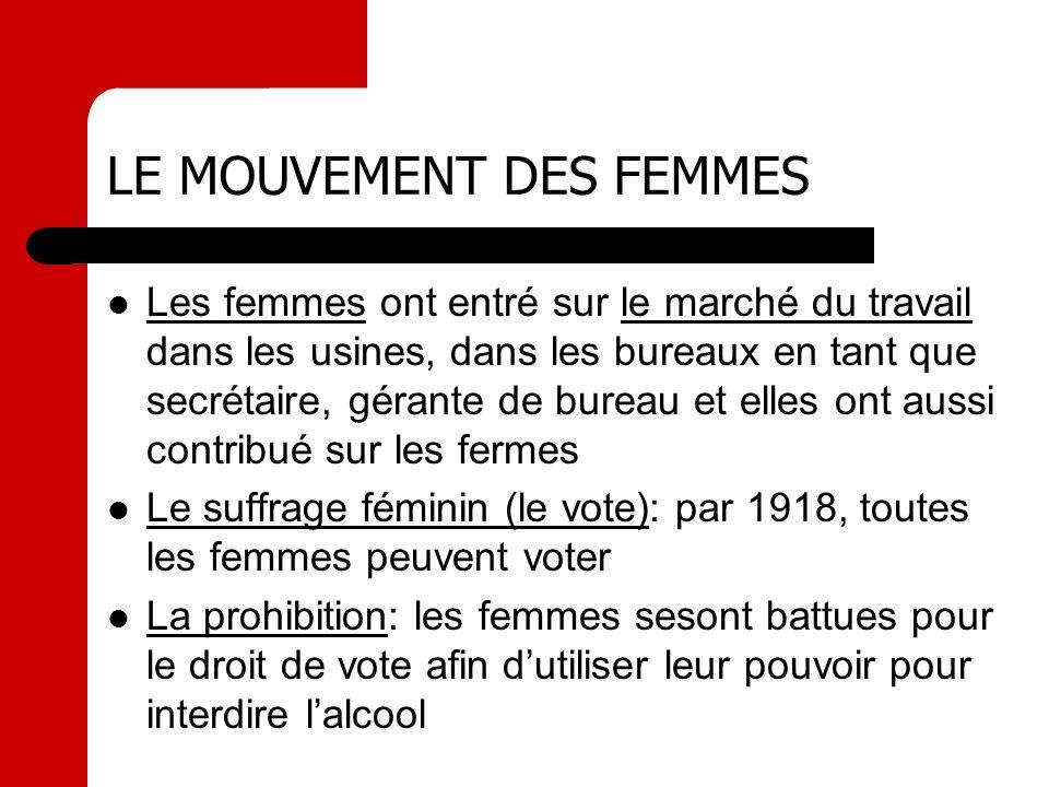 LE MOUVEMENT DES FEMMES Les femmes ont entré sur le marché du travail dans les usines, dans les bureaux en tant que secrétaire, gérante de bureau et e