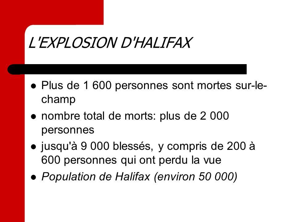Plus de 1 600 personnes sont mortes sur-le- champ nombre total de morts: plus de 2 000 personnes jusqu'à 9 000 blessés, y compris de 200 à 600 personn