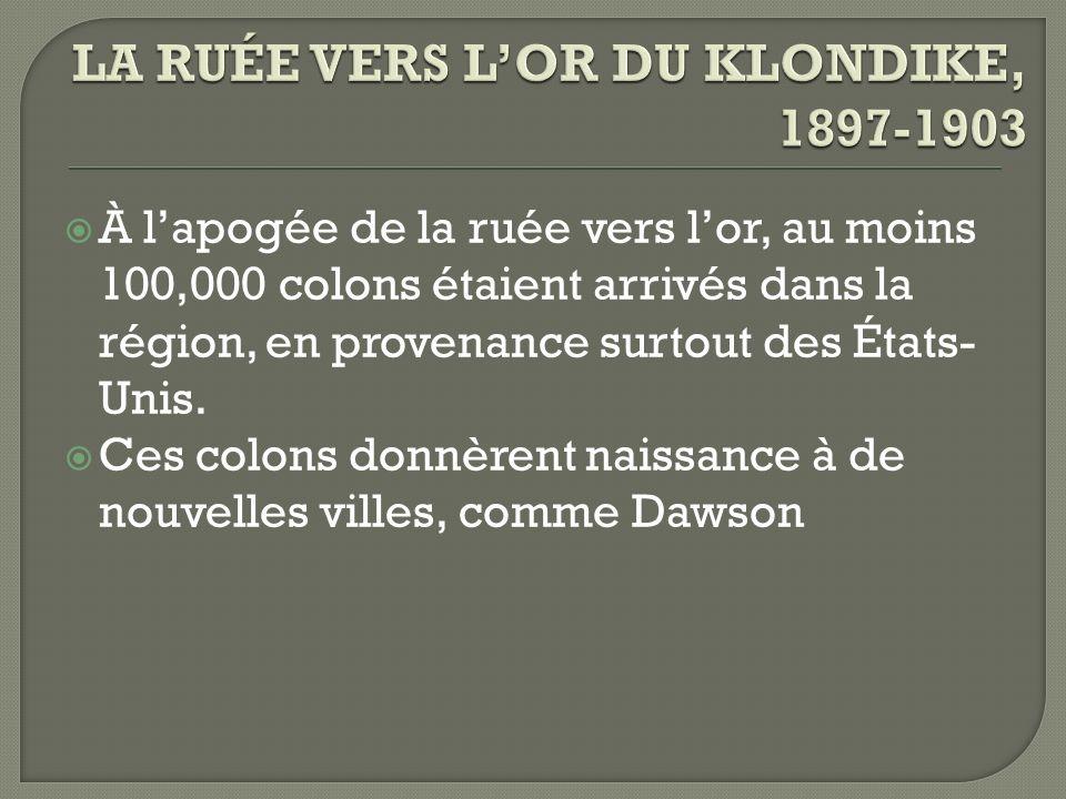 À lapogée de la ruée vers lor, au moins 100,000 colons étaient arrivés dans la région, en provenance surtout des États- Unis. Ces colons donnèrent nai