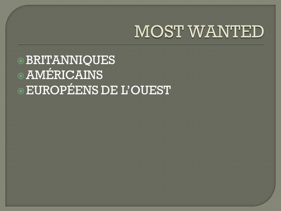 BRITANNIQUES AMÉRICAINS EUROPÉENS DE LOUEST