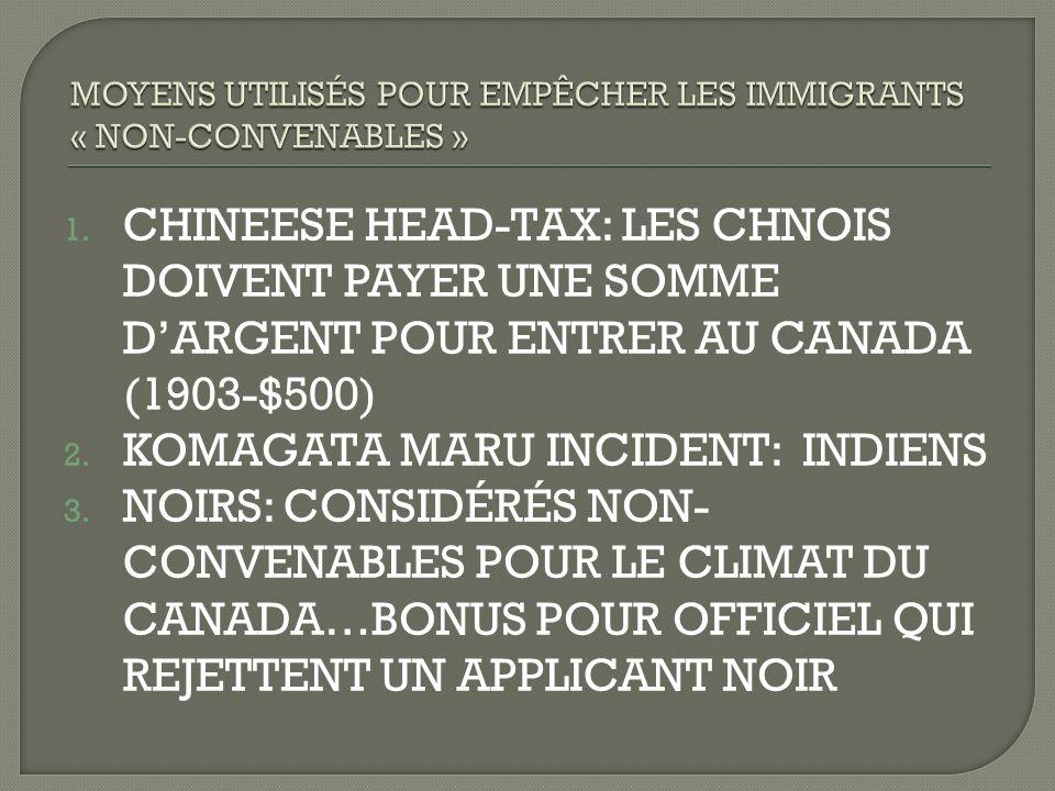1. CHINEESE HEAD-TAX: LES CHNOIS DOIVENT PAYER UNE SOMME DARGENT POUR ENTRER AU CANADA (1903-$500) 2. KOMAGATA MARU INCIDENT: INDIENS 3. NOIRS: CONSID