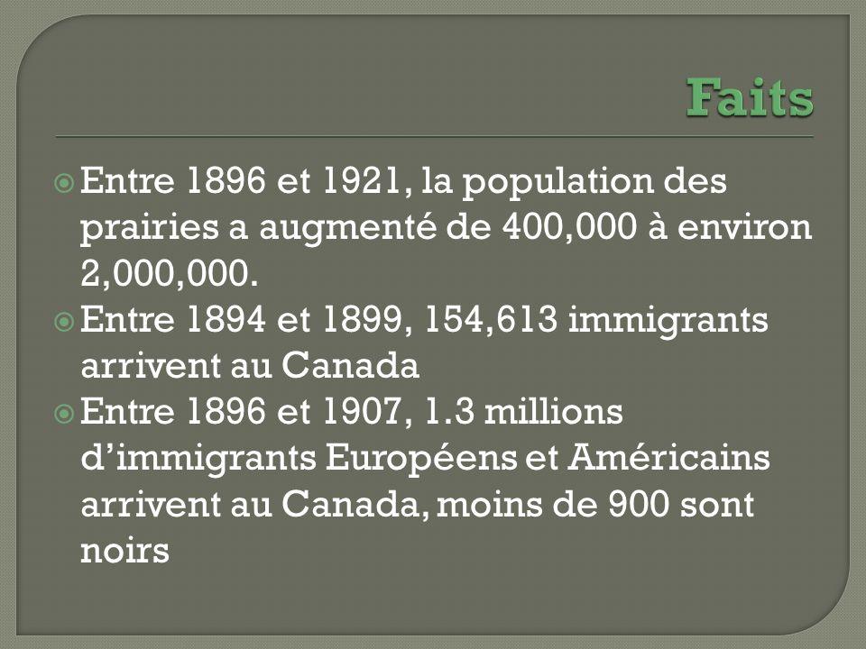 Entre 1896 et 1921, la population des prairies a augmenté de 400,000 à environ 2,000,000. Entre 1894 et 1899, 154,613 immigrants arrivent au Canada En
