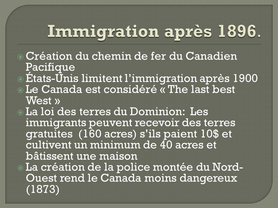 Création du chemin de fer du Canadien Pacifique États-Unis limitent limmigration après 1900 Le Canada est considéré « The last best West » La loi des