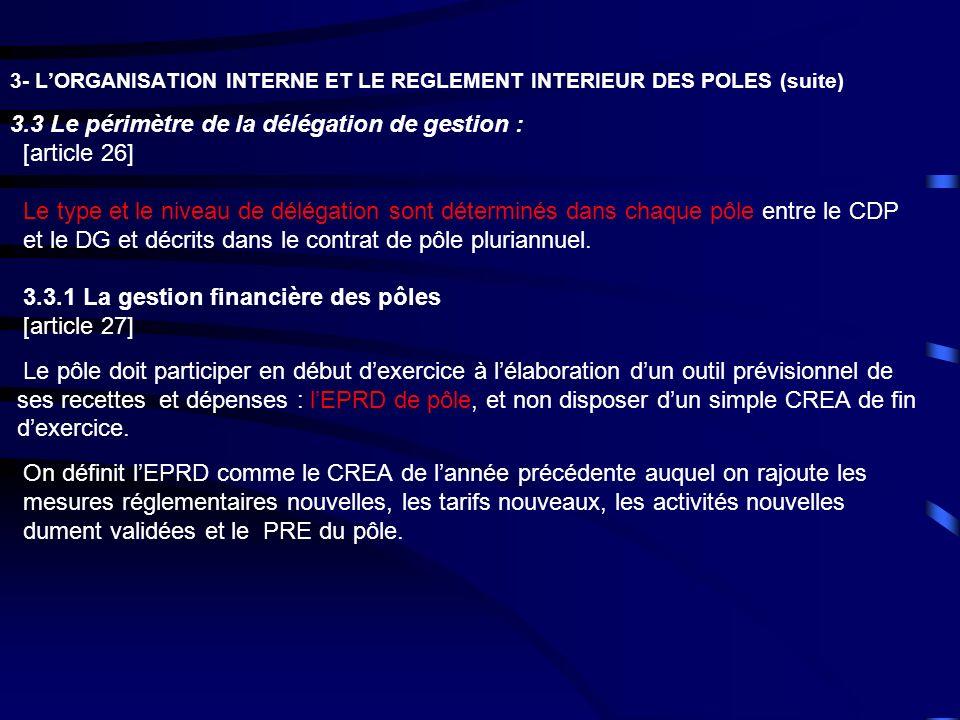 3- LORGANISATION INTERNE ET LE REGLEMENT INTERIEUR DES POLES (suite) 3.3 Le périmètre de la délégation de gestion : [article 26] Le type et le niveau