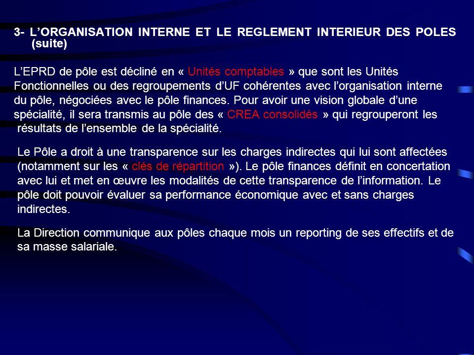 3- LORGANISATION INTERNE ET LE REGLEMENT INTERIEUR DES POLES (suite) LEPRD de pôle est décliné en « Unités comptables » que sont les Unités Fonctionne