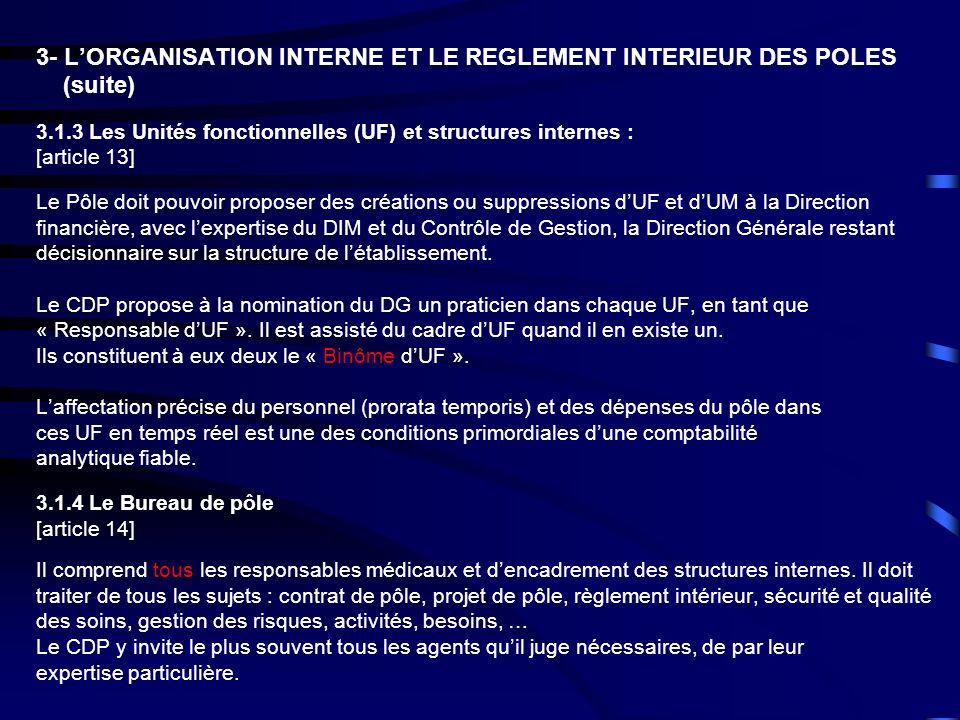 3- LORGANISATION INTERNE ET LE REGLEMENT INTERIEUR DES POLES (suite) 3.1.3 Les Unités fonctionnelles (UF) et structures internes : [article 13] Le Pôl