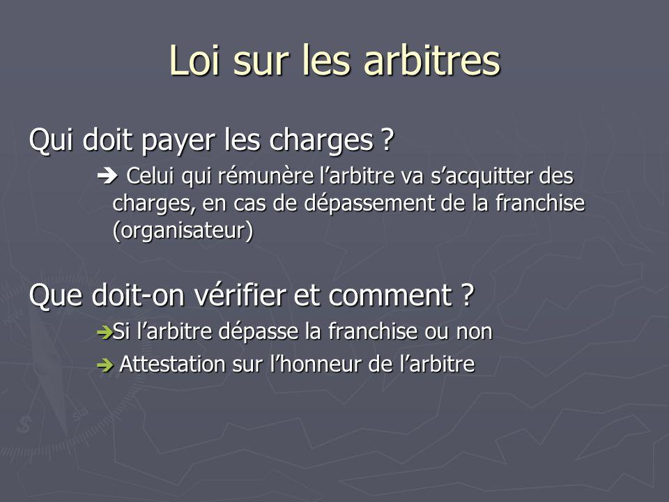 Loi sur les arbitres Qui doit payer les charges .